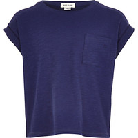 River Island Girls navy rolled sleeve t-shirt