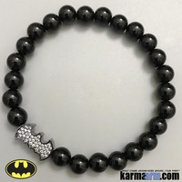 BATMAN Bracelets: Black Onyx | CZ Diamond Bat Signal | Superhero ComicCon CosPlay Bracelet