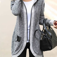 Women Casual Coat Clothing Fashion Medium-long Cardigan Casual Outwear Sweater Coat Wadded Jacket S-XXL