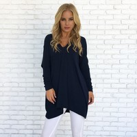 Lounge Around Sweater Top in Navy Blue