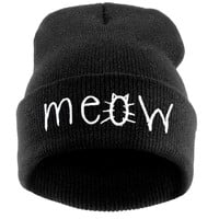 Fashion MEOW Cap Men Casual Hip-Hop Hats Knitted Wool Skullies Beanie Hat Warm Winter Hat for Women Free Shipping SW43