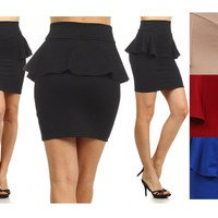 Sexy High Waist Bodycon Peplum Frill Stretch Pencil Skater Mini Skirt