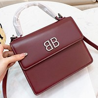 Balenciaga  New fashion leather shoulder bag crossbody bag handbag Burgundy