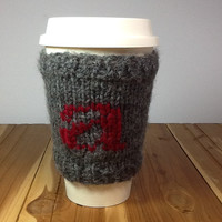 Knitted Coffee Cup cozy, gray  wool blend yarn with initial letter, fits 16 oz. travel cup, washable cup sleeve, gifts under 15