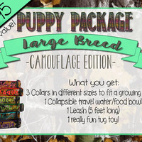 New Puppy Package - Personalized Camo Dog Collar and Accessory Set for Large Breed Dogs
