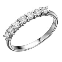 Swarovski CZ Wedding Band Round Brilliant Cut 14k White Gold