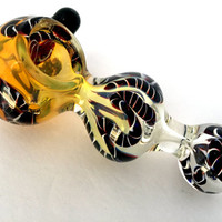 """Black liner Handmade 5"""" inch Thick Spoon Bowl Glass Pipe - Spoon Bowl with Black Liner with Zebra Pattern ( Only 1 piece Remaining )"""