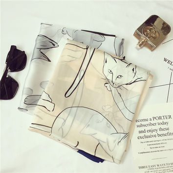 Fashion Silk Scarf Lovely Cat Print Shawl