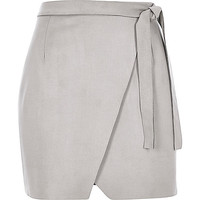 Light grey faux-suede wrap mini skirt - mini skirts - skirts - women