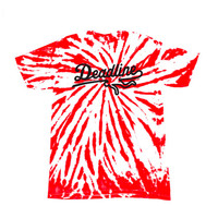 Deadline Contrast Tie Dye Sports Logo T-shirt Red