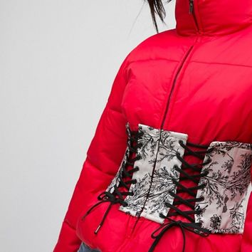 ASOS Puffer Jacket with Printed Corset at asos.com