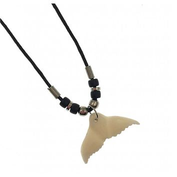 Whale Tail Pendant With Black Cord Necklace