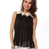 Papaya Clothing Online :: BEADED COLLAR CONTRAST PLEATED BLOUSE