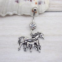 Antique silver  hores belly button ring ,  hores navel piercing, friendship belly button ring, unique gift