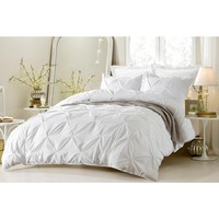 PINCH PLEAT DESIGN WHITE DUVET COVER SET STYLE # 1006 - CHERRY HILL COLLECTION