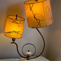 Mid Century 1950s Asymmetrical Two Shade Table Lamp - Fiberglass Shades