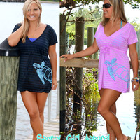 a stunning beach coverup decorated with Sporty Girl Apparels Sea turtle design perfect beach dress