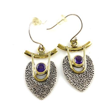 Amethyst Sterling Silver Two Tone Earrings