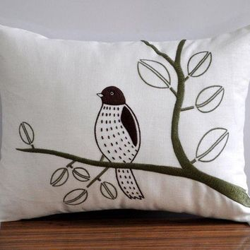 Lonely Bird Lumbar Pillow Cover 12 x 16 Linen by KainKain on Etsy