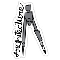 'Architecture Compass' Sticker by Lisa Smith