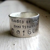 Unique Bird Band Ring Personalized Wedding Ring by tinahdee
