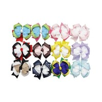 """Janecrafts 3"""" Boutique Hair Bow Girls Baby Clip Grosgrain Ribbon Headband Mix 12 Colors"""
