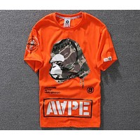 AAPE 2018 trendy summer men and women casual round neck T-shirt F-A-KSFZ Orange