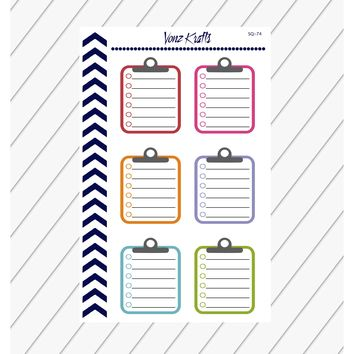 Clipboard Planner Stickers, Chipboard Sticker, Small Clipboard Office Sticker, Functional Planner Stickers, Perfect For Erin Condren Planner