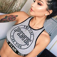 Fashion  Casual Multicolor Letter Print Sleeveless Sports Small Vest Crop Tops