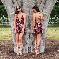 Burgundy Floral Print Back Cut Out Romper