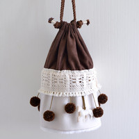 The circus has come to town bucket bag, circus style, pompom bag, dark brown circus tent