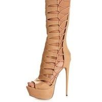 Strappy Cut-Out Knee-High Gladiator Heels by Charlotte Russe