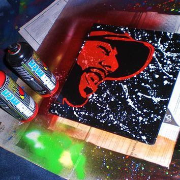 Common painting on square canvas,black,red,white,hip hop,splash,Chicago,music,rapper,soul,stencil art,spray paints,home,living,wall art,pop