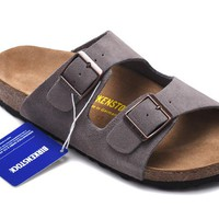 Men's and Women's BIRKENSTOCK sandals Arizona Soft Footbed Suede Leather 632632288-092