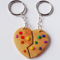 RAINBOW COOKIE keychain / keyring - friendship / bff / boyfriend & girlfriend