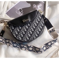 Dior embroidery knitted canvas postman bag