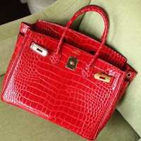 hcxx 1909 Hermes Birkin Fashion Crocodile pattern Handbag Red