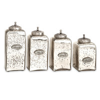 IMAX 84767-4 Numbered Pewter and Brushed Nickel Mercury Glass Jar with Lid, Set of Four