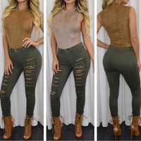 High Waist Distressed Skinny Pants