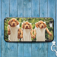 iPhone 4 4s 5 5s 5c 6 6s plus iPod Touch 4th 5th 6th Generation Cute Puppies Puppy Dog Clothes Pin Line Adorable Funny Girl Boy Case Cover