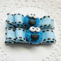 Cookie Monster Hair Clips Baby Bows for Babies Girls Teens and Adults Kawaii Fashion