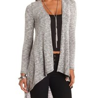 Marled Cascade Duster Cardigan by Charlotte Russe - Med Gray Combo