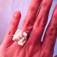 Ring Vintage White Adjustable Rosebud by ConstantlyUnfolding