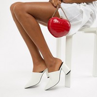Miss Selfridge faux leather pointed heeled mule in white at asos.com