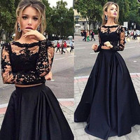 Black Long Sleeve Lace Prom Dresses
