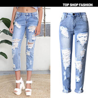 Ripped Holes Strong Character Slim Star Plus Size Skinny Pants [10734936079]