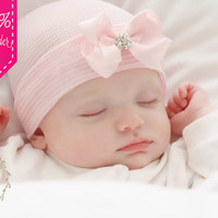 Newborn Hospital Hat Baby Girl Hospital Hat Beanie with Bow in Pink