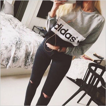 "Multi-color ""Adidas"" Letter and Logo Print Long Sleeve Sweater"