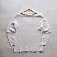 Final Sale - Material Girl Choker Sweater in Grey