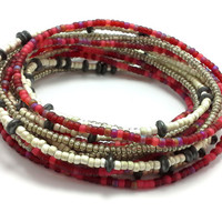 Seed bead wrap stretch bracelets, stacking, beaded, boho anklet, bohemian, stretchy stackable multi strand, red white silver black hematite